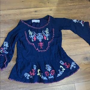 Boho embroidered top with flare sleeves